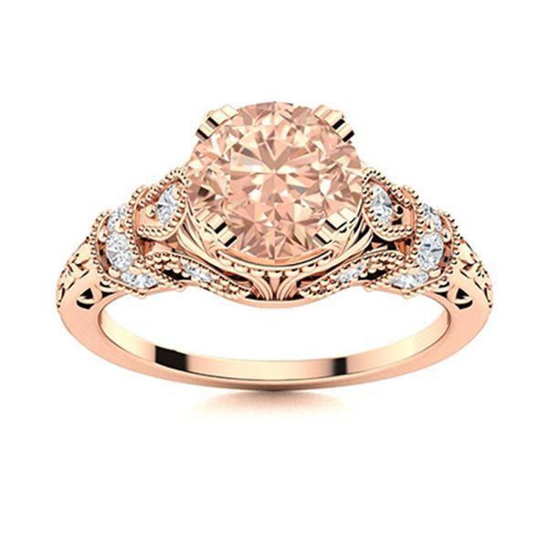 Natural 1.76 CTW Morganite & Diamond Engagement Ring 18K Rose Gold