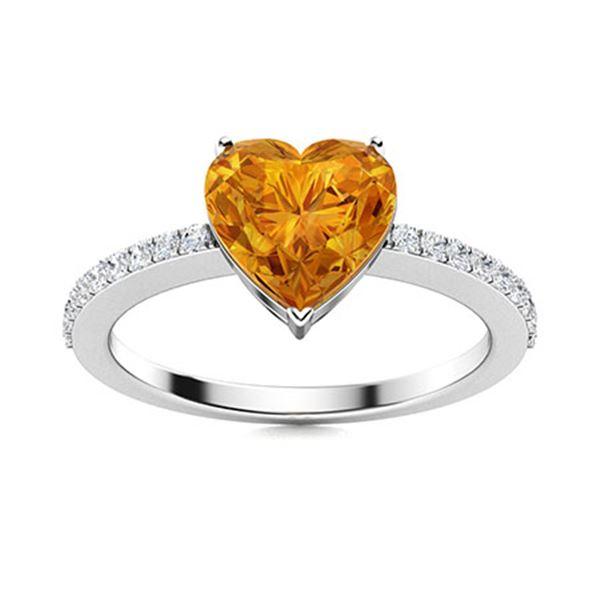 Natural 1.81 CTW Citrine & Diamond Engagement Ring 18K White Gold