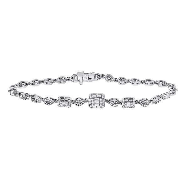 14kt White Gold Womens Baguette Diamond Geometric Fashion Bracelet 3/4 Cttw