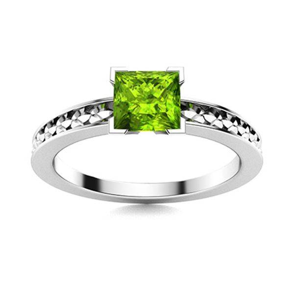 Natural 0.91 CTW Peridot Solitaire Ring 14K White Gold