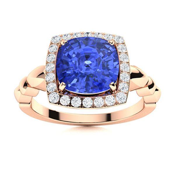 Natural 2.44 CTW Ceylon Sapphire & Diamond Engagement Ring 18K Rose Gold