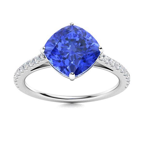 Natural 1.71 CTW Ceylon Sapphire & Diamond Engagement Ring 14K White Gold