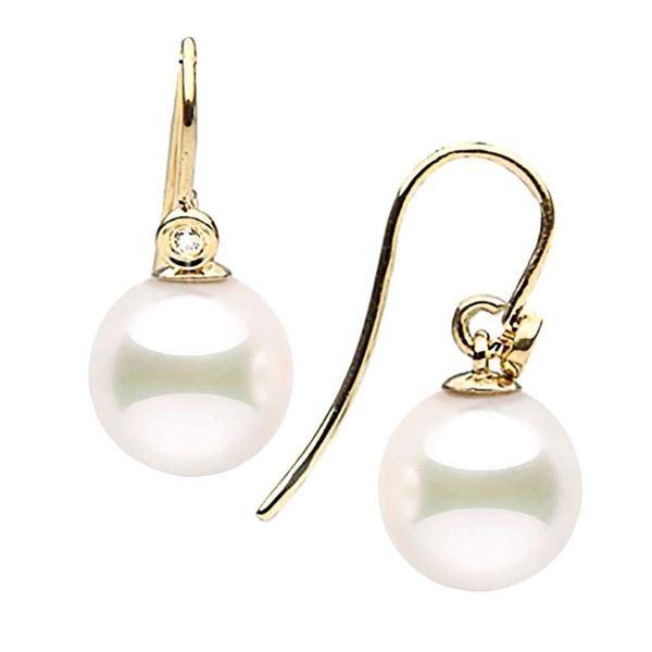 Japanese Akoya Pearl and Diamond Shepherd Dangle Earrings