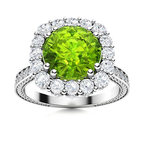 Natural 2.43 CTW Peridot & Diamond Engagement Ring 18K White Gold