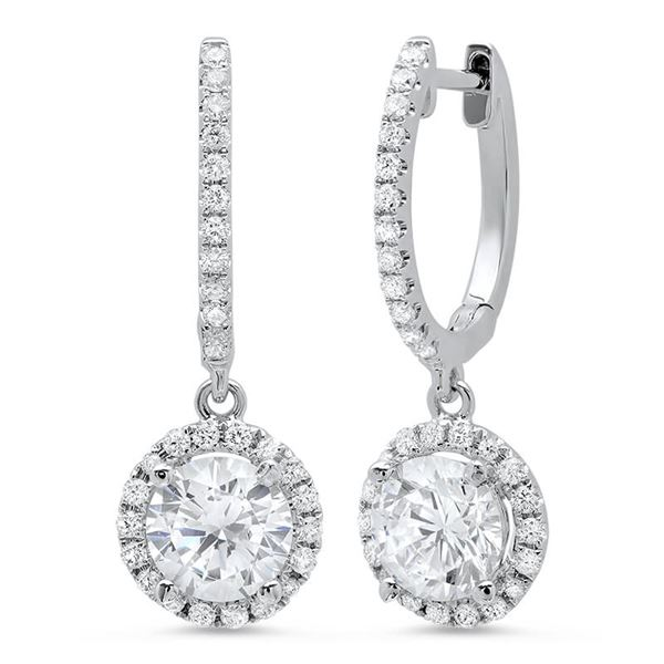 Natural 1.28 CTW Lever Back Halo Round Cut Diamond Earrings 14KT White Gold