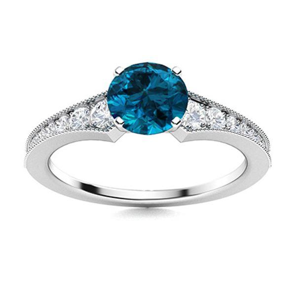 Natural 1.29 CTW Topaz & Diamond Engagement Ring 14K White Gold