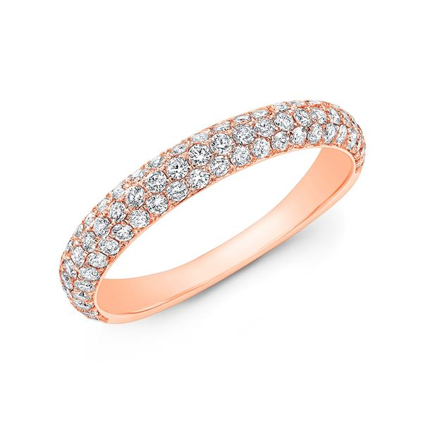 Natural 0.82 CTW 3 Rows Round Cut Micro Pave Diamond Wedding Band Ring 14KT Rose Gold