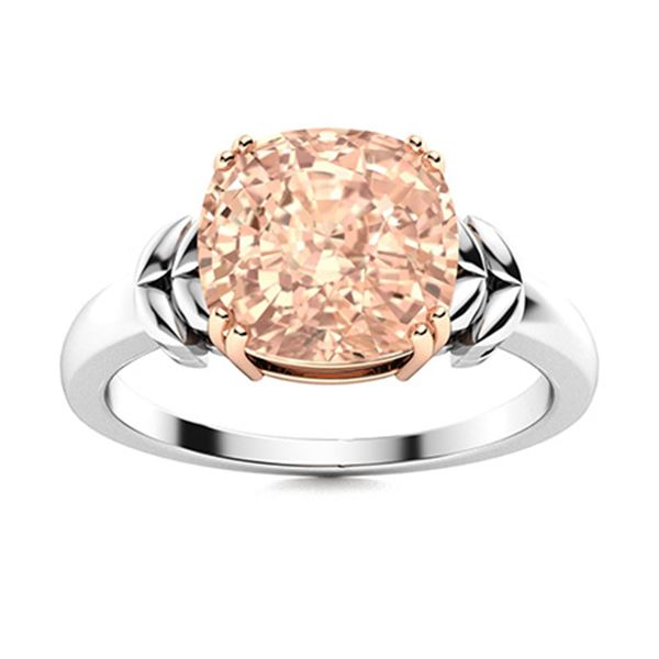 Natural 1.27 CTW Morganite Solitaire Ring 18K White Gold