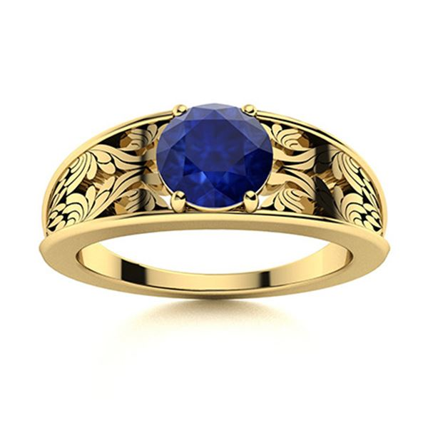 Natural 1.31 CTW Sapphire Solitaire Ring 14K Yellow Gold