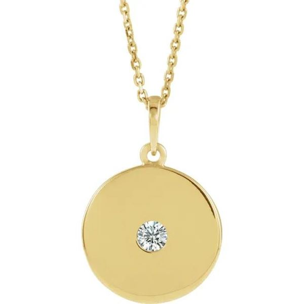 Natural 0.12 CTW Gold Disc Diamond Necklace 14KT Yellow Gold