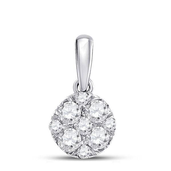 14kt White Gold Womens Round Diamond Fashion Cluster Pendant 1/2 Cttw