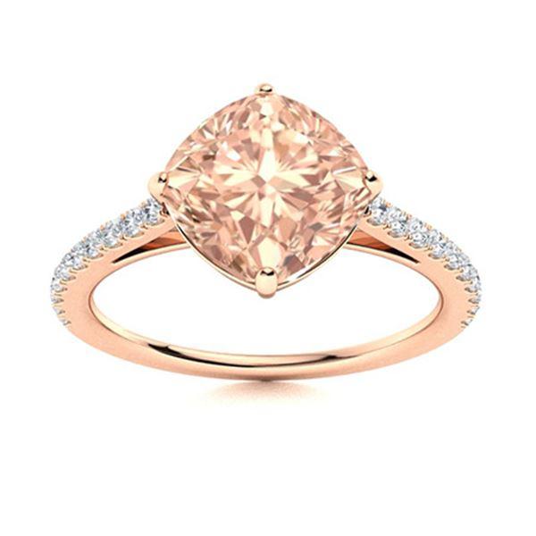 Natural 1.31 CTW Morganite & Diamond Engagement Ring 14K Rose Gold