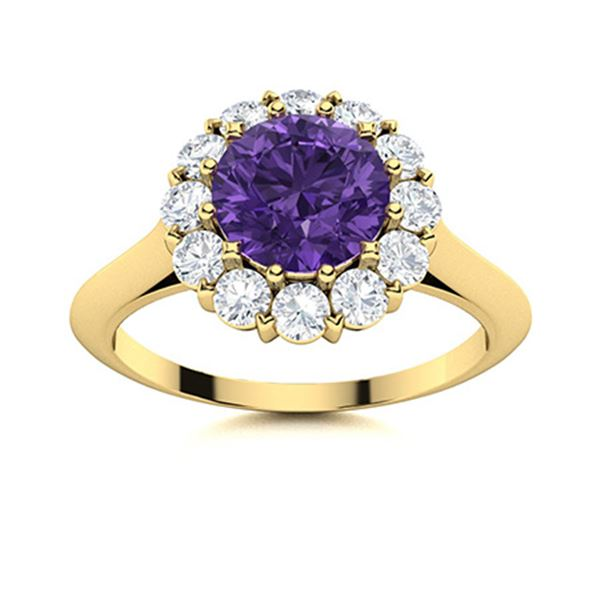 Natural 1.47 CTW Amethyst & Diamond Engagement Ring 14K Yellow Gold