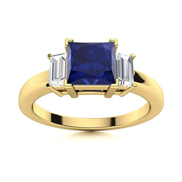 Natural 1.02 CTW Sapphire & Diamond Engagement Ring 18K Yellow Gold