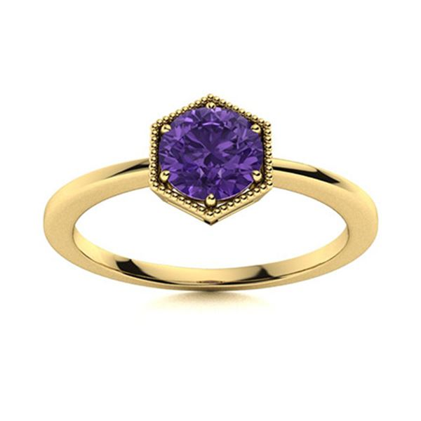 Natural 1.05 CTW Amethyst Solitaire Ring 14K Yellow Gold