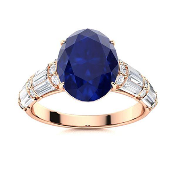 Natural 4.13 CTW Sapphire & Diamond Engagement Ring 14K Rose Gold