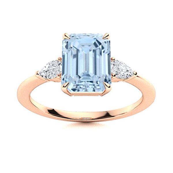 Natural 2.35 CTW Aquamarine & Diamond Engagement Ring 14K Rose Gold