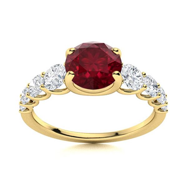 Natural 2.03 CTW Ruby & Diamond Engagement Ring 14K Yellow Gold