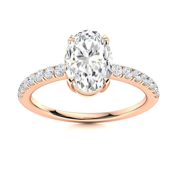 Natural 3.01 CTW Diamond Solitaire Ring 14K Rose Gold