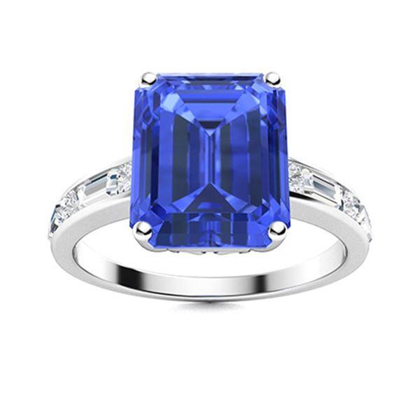 Natural 5.94 CTW Ceylon Sapphire & Diamond Engagement Ring 18K White Gold