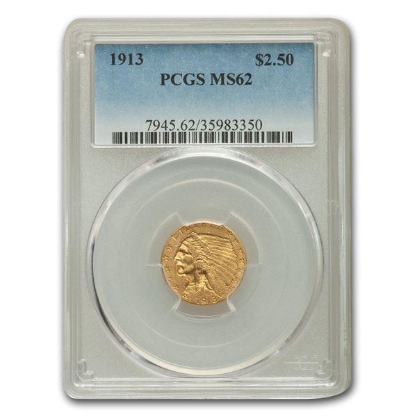 1913 $2.50 Indian Gold Quarter Eagle MS-62 PCGS