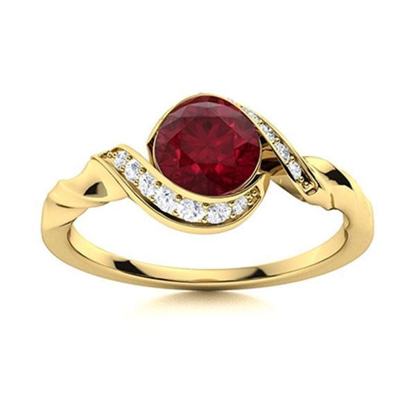 Natural 1.75 CTW Ruby & Diamond Engagement Ring 18K Yellow Gold