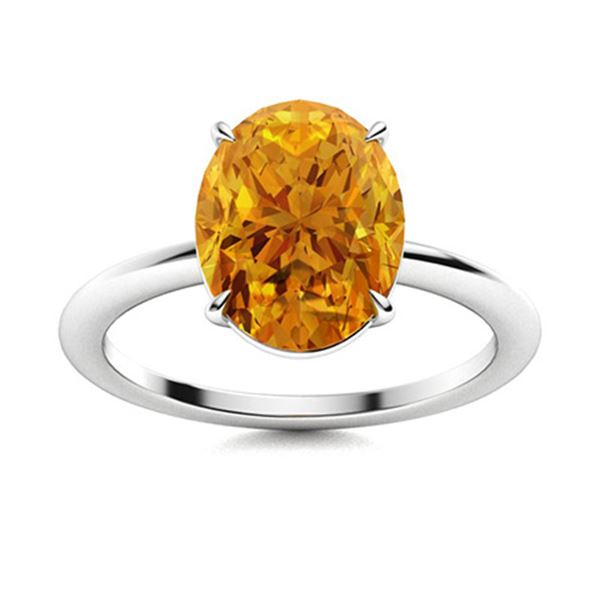 Natural 3.97 CTW Citrine Solitaire Ring 14K White Gold