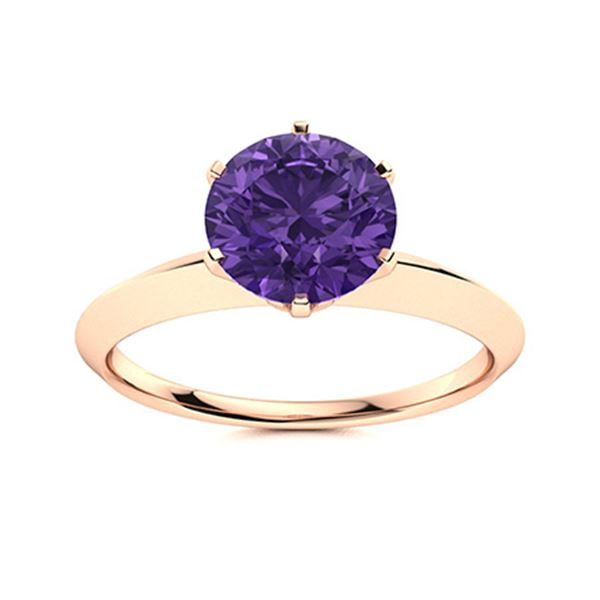 Natural 1.42 CTW Amethyst Solitaire Ring 18K Rose Gold