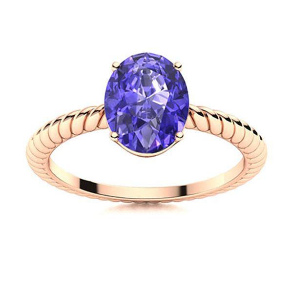 Natural 1.55 CTW Tanzanite Solitaire Ring 14K Rose Gold