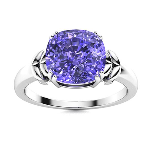 Natural 1.26 CTW Tanzanite Solitaire Ring 14K White Gold