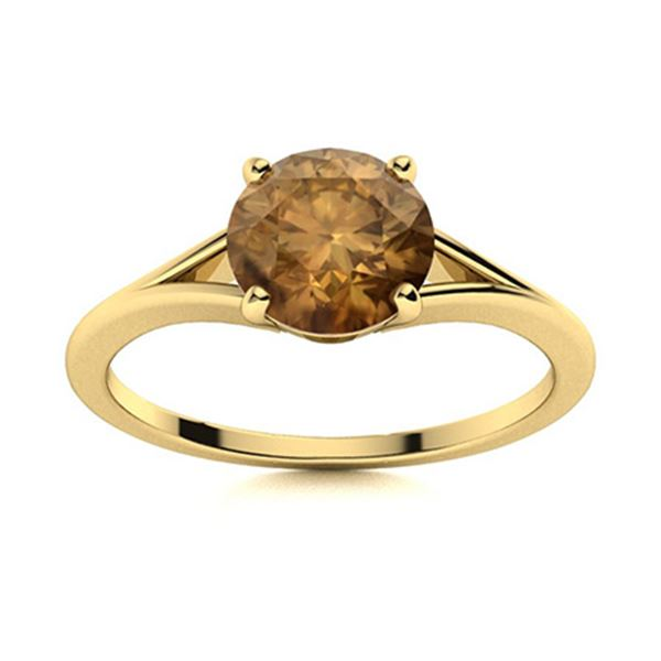 Natural 0.81 CTW Brown Diamond Solitaire Ring 14K Yellow Gold