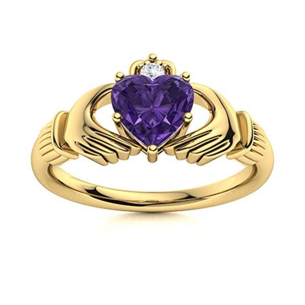 Natural 0.68 CTW Amethyst & Diamond Engagement Ring 14K Yellow Gold