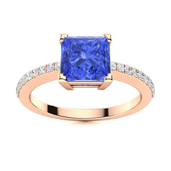 Natural 1.18 CTW Ceylon Sapphire & Diamond  Engagement Ring 18K Rose Gold