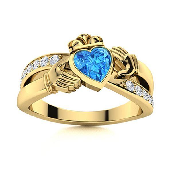Natural 0.77 CTW Topaz & Diamond Engagement Ring 18K Yellow Gold