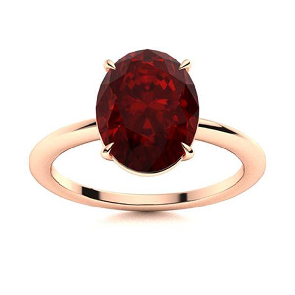 Natural 3.02 CTW Garnet Solitaire Ring 14K Rose Gold