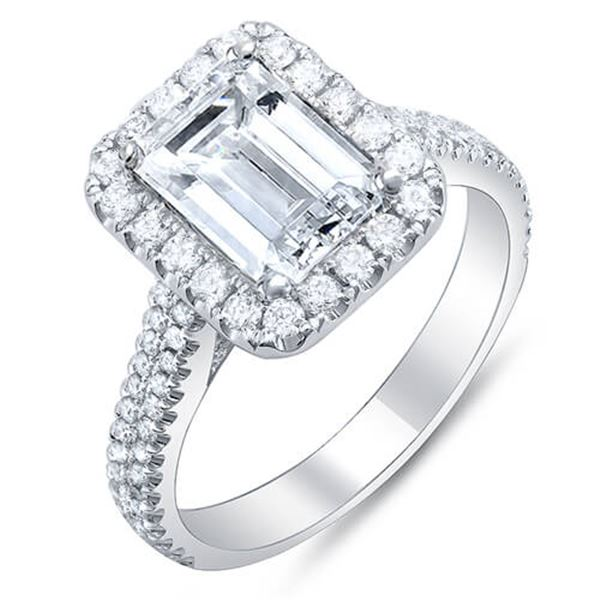 Natural 3.02 CTW Emerald Cut Halo Diamond Engagement Ring 14KT White Gold