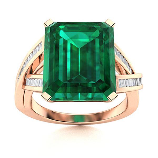 Natural 4.72 CTW Emerald & Diamond Engagement Ring 18K Rose Gold