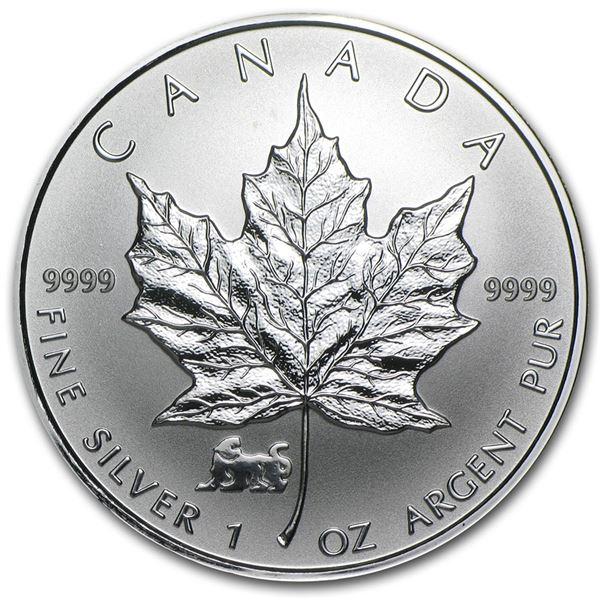 1998 Canada 1 oz Silver Maple Leaf Lunar Tiger Privy
