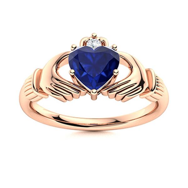 Natural 0.62 CTW Sapphire & Diamond Engagement Ring 18K Rose Gold