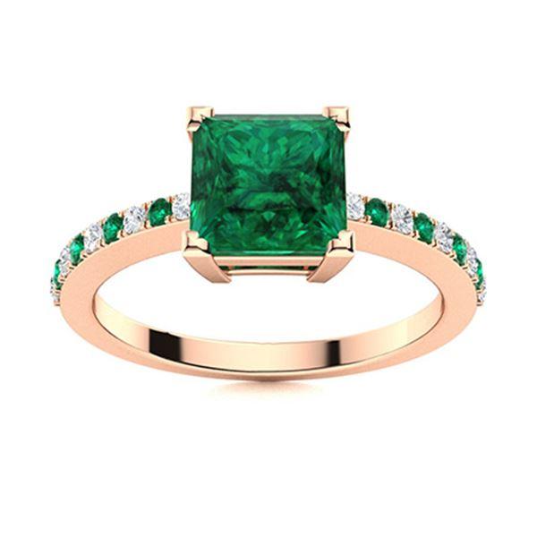 Natural 1.29 CTW Emerald & Diamond  Engagement Ring 14K Rose Gold