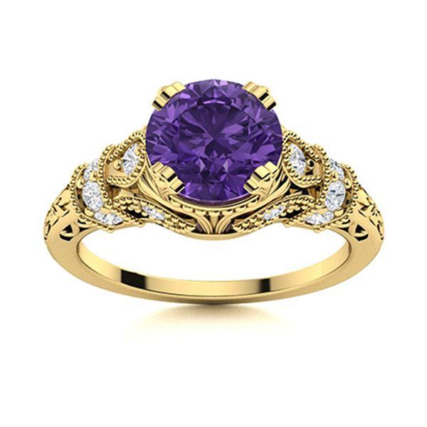 Natural 1.76 CTW Amethyst & Diamond Engagement Ring 18K Yellow Gold