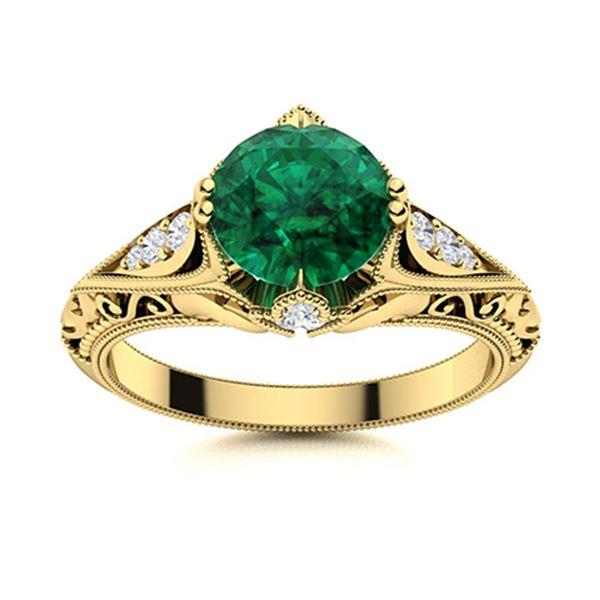 Natural 1.14 CTW Emerald & Diamond Engagement Ring 18K Yellow Gold