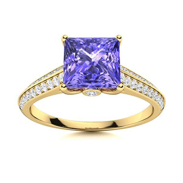 Natural 1.07 CTW Tanzanite & Diamond Engagement Ring 14K Yellow Gold