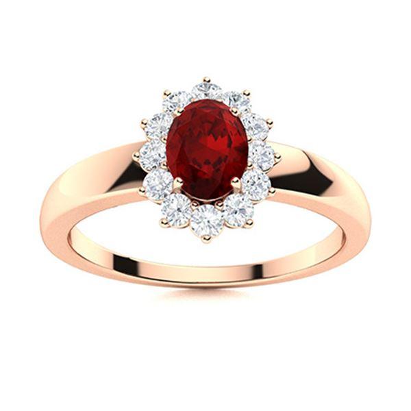 Natural 0.78 CTW Garnet & Diamond Engagement Ring 14K Rose Gold