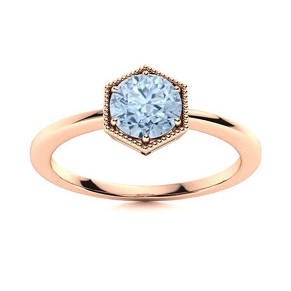 Natural 1.22 CTW Aquamarine Solitaire Ring 18K Rose Gold