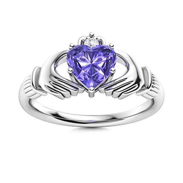 Natural 0.49 CTW Tanzanite & Diamond Engagement Ring 14K White Gold
