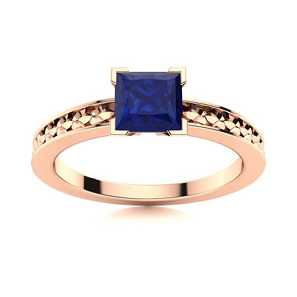 Natural 0.66 CTW Sapphire Solitaire Ring 14K Rose Gold