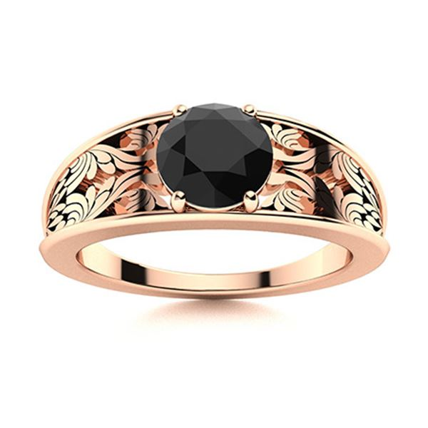 Natural 0.61 CTW Black Diamond Solitaire Ring 14K Rose Gold