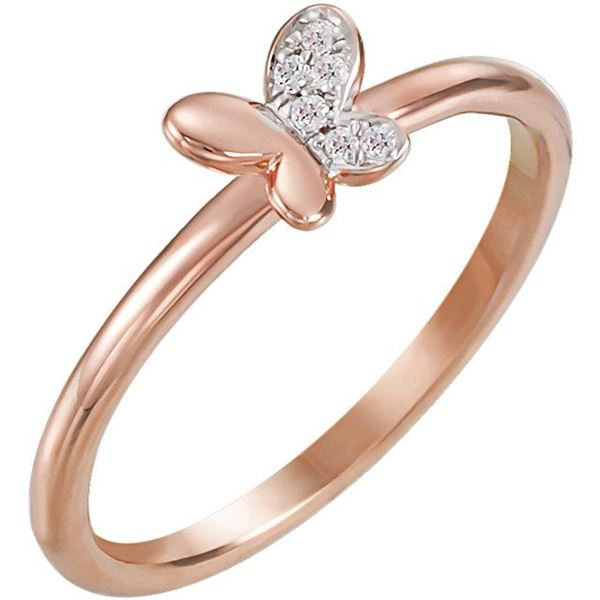 Natural 0.06 CTW Butterfly Diamond Ring 14KT Rose Gold