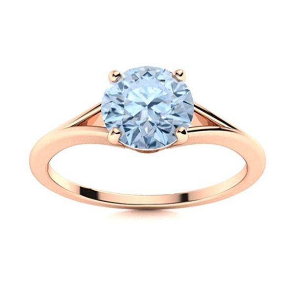 Natural 1.21 CTW Aquamarine Solitaire Ring 14K Rose Gold